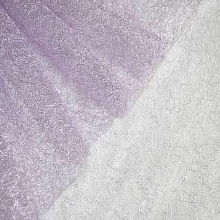 Гипюр-паутинка фиолетовая светлая с серебряным люрексом ш.160