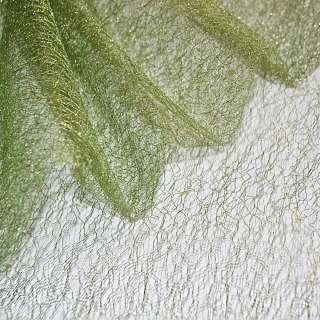 Гипюр-паутинка зеленая с золотистым люрексом ш.160