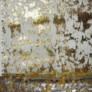 Гипюр-паутина золотистая с золотистым штампом ш.155
