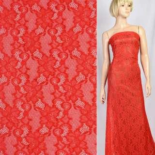 Кружевное полотно стрейч вьющиеся цветы красное, ш.150