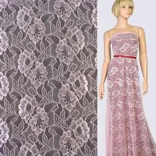 Кружевное полотно стрейч цветы на сетке розовое, ш.150