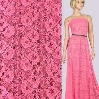 Кружевное полотно стрейч цветы на сетке розовое неон, ш.155