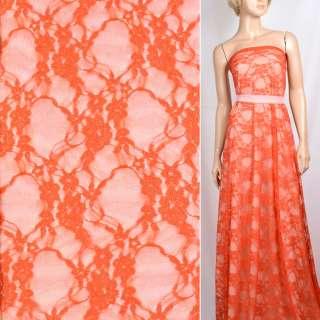 Гипюр стрейч оранжевый с вьющимися цветами ш.150