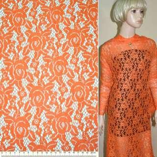 Кружевное полотно стрейч розы оранжевое ш.150
