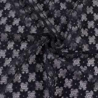 Гипюр стрейч черный, ромбы с цветами, ш.150