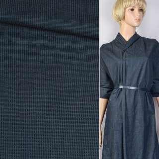 Джинс синий в черную полосу-штрихи ш.145