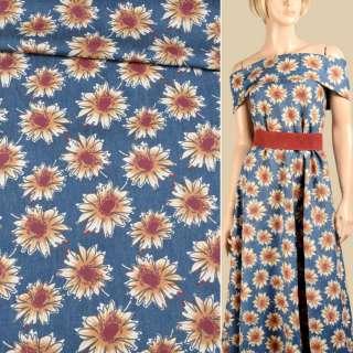 Джинс синий в бежево-коричневые цветы, ш.150
