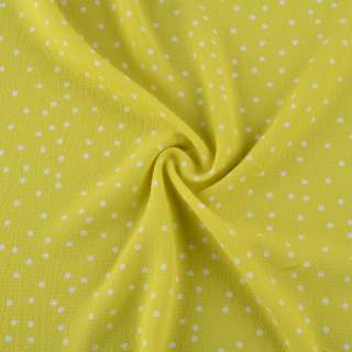 Креп стрейч желто-зеленый в белый горох ш.150