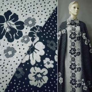 Жаккард костюмный 2-ст. молочно-синий с цветами и крапками (раппорт) ш.150