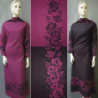 Жаккард костюмный 2-ст. малиново-черный с 2-ст. купоном цветы и сердечки ш.150