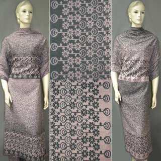 Жаккард костюмный 2-ст. розово-серый с 2-ст. купоном ромашки ш.150