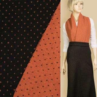 Жаккард костюмный 2-ст. черно-оранжевый крапки ш.150