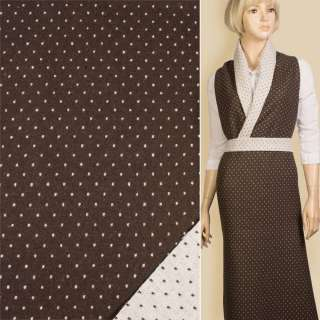 Жаккард костюмный 2-ст. коричнево-белый точки ш.152
