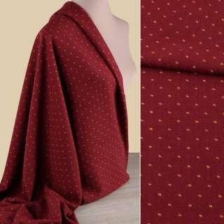 Ткань костюмная красная темная в желтую точку ш.148