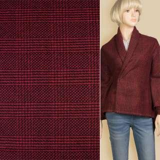 Кашемир пальтовый в клетку точку красно-черный, ш.150