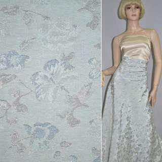 Фукра серебристо-голубая с серыми ветками и голубыми цветами