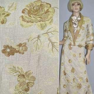 Фукра белая с золотыми цветами ш.150
