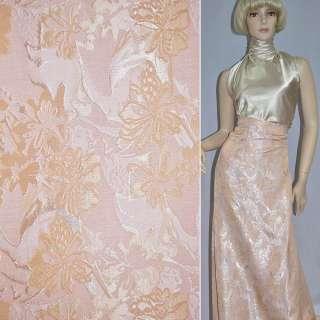 Фукра розовая с молочно-бежевыми цветами, ш.150