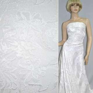 Фукра белая с белыми цветами, ш.150