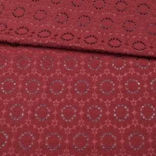 Жаккард-фукра с метанитью вишневый, цветы, ш.141