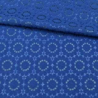 Жаккард-фукра с метанитью синий ультра, цветы, ш.142