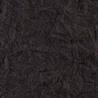 Твид елочка жатый серо-бежево-черный, ш.145