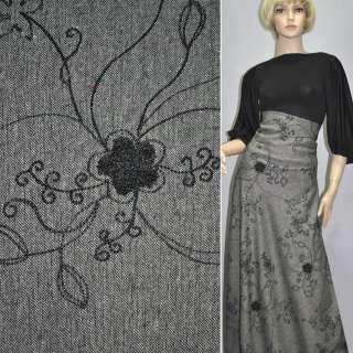 Твид черно-белый с вышитыми черными цветами и серебряным люрексом ш.150