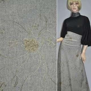 Твид серый светлый с серебристым напылением и оливковой вышивкой ш.150