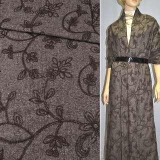 Твид темно-коричневый с коричневой вышивкой, ш.150