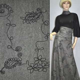 Твид черно-белый с серебристым напылением и черной вышивкой ш.150