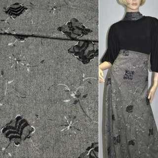 Твид черно-белый с черной вышивкой, сеткой и серебряным люрексом, ш.145