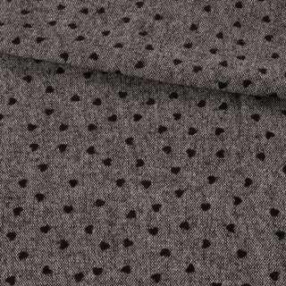 Твид донегал серый, черные флоковые сердечки, ш.150