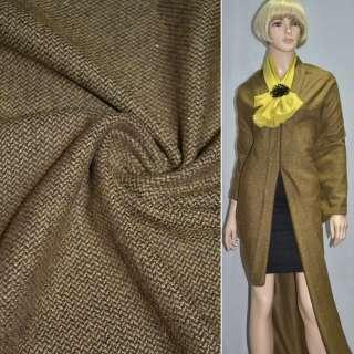 Твид костюмная коричнево-горчичный зернистый с люрексом