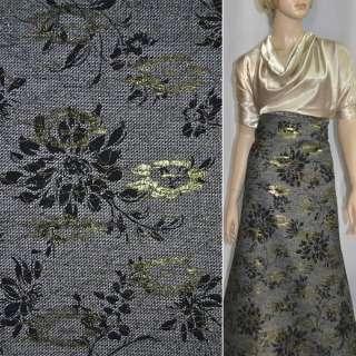 Твид черно-белый с черным флоком и золотой вышивкой ш.150