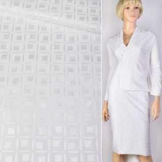 Жаккард стрейч белый в кубики 20мм ш.145