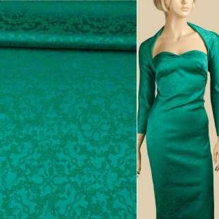 Жаккард стрейч хлопковый зеленый, цветы ш.140