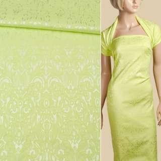 Жаккард стрейч хлопковый лимонный орнамент ш.135