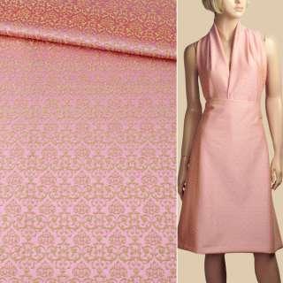 Жаккард стрейч хлопковый розово-салатовый узор ш.133