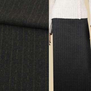 Ткань костюмная зеленая темная в оливковые штрихи и полоски, ш.150