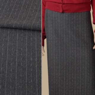 Ткань костюмная серая в белые штрихи и полоски, ш.152