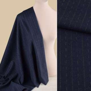 Ткань костюмная синяя темная в оливковые штрихи и полоски, ш.150
