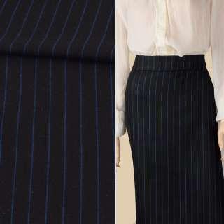 Ткань костюмная черная в синюю полоску 20мм ш.152