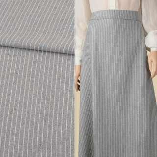 Ткань костюмная серая в белую полоску 10мм ш.150