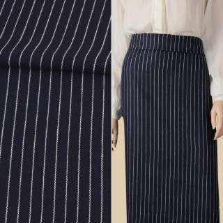 Ткань костюмная синяя темная в белую полоску 15мм ш.150