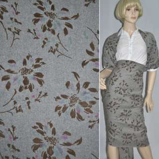 Ткань костюмная серая светлая с коричневыми цветами из флока ш.150