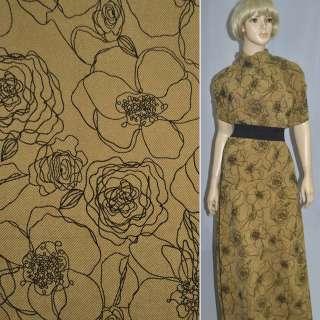 Ткань костюмная песочная с черным флоком цветы