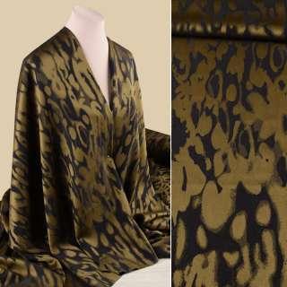 Жаккард стрейч костюмный оливково-черный в абстрактный рисунок ш.130