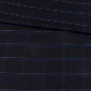 Шерсть стрейч черная в синюю клетку, ш.148