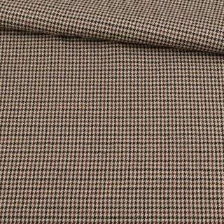 Шотландка бежево-коричневая гусиная лапка, ш.145
