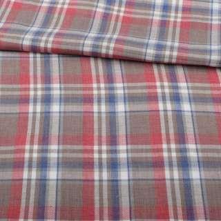 Шотландка коричневая светлая в красно-бело-синюю клетку ш.147